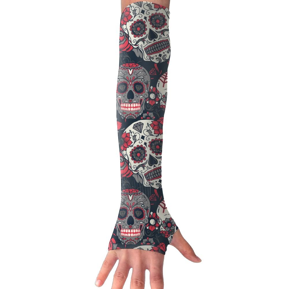 Ncwi Wa Unisex Floral Sugar Skull Arm Sleeves UV Sun Protective Windproof Tattoo Arm Gloves Outdoor Activities Skin Protection Long Sleeve Perfect For Climbing Football