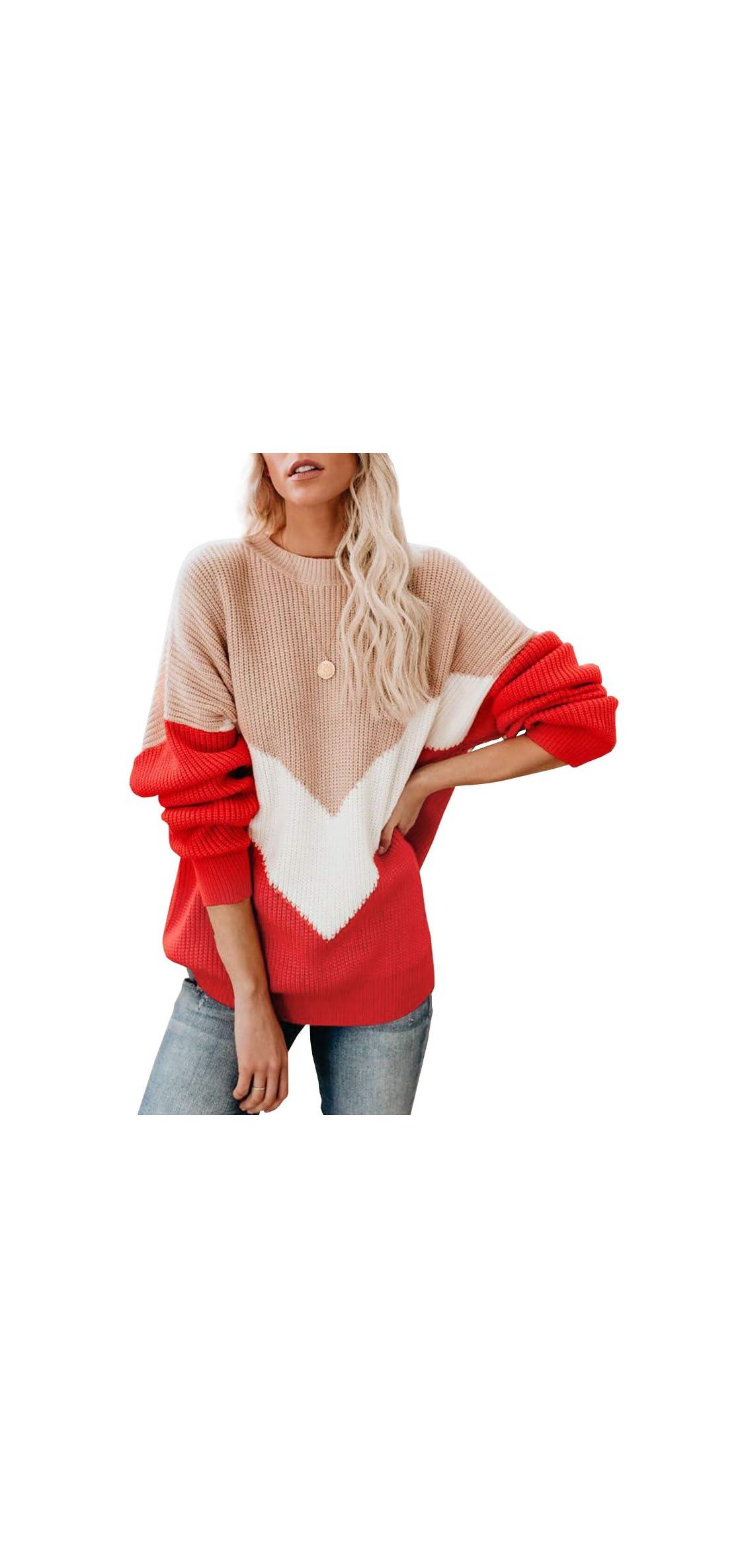 Womens Oversized Batwing Sleeve Sweaters Chevron