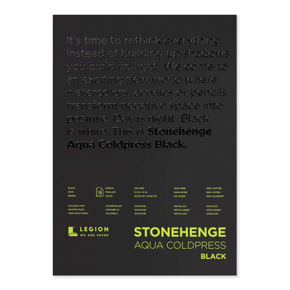Legion Stonehenge Aqua Watercolor Pad, 140lb, Cold Press, 10 by 14 Inches, Black Paper, 15 Sheets (L21-SQC140BK1014) by Stonehenge