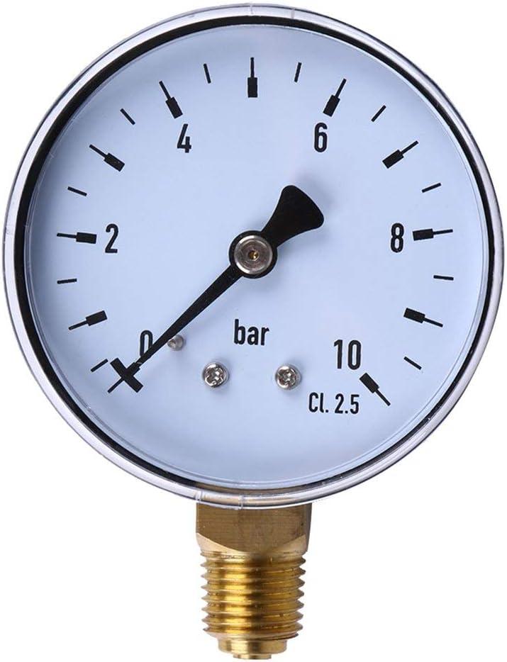 couleur: transparent et noir DF-FR 1//4 pouce NPT montage lat/éral 10 bar m/étal eau huile compresseur dair manom/ètre manom/ètre outil de mesure de pression