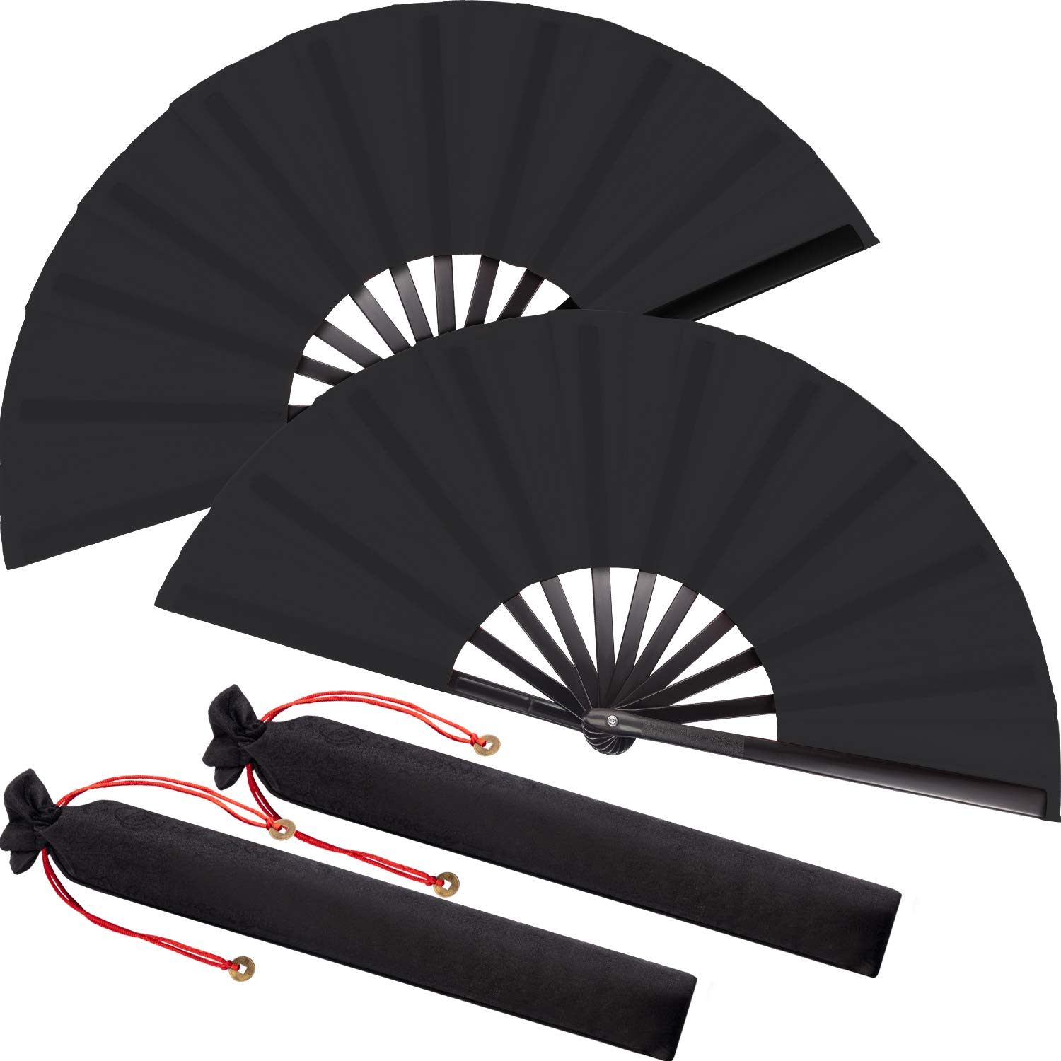 Large Folding Silk Hand Fan Hand Folding Fans Chinese Tai Chi Folding Fan for Men and Women Performance, Dance, Decorations, Festival, Gift (Black, 2 Packs) by Maitys