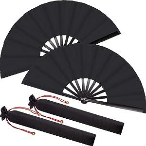 Large Folding Silk Hand Fan Hand Folding Fans Chinese Tai Chi Folding Fan for Men and Women Performance, Dance, Decorations, Festival, Gift (Black, 2 Packs)