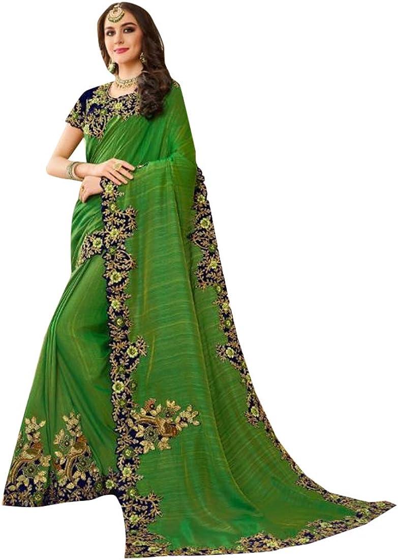 Sari Traditional Indian Sari Designer Embroidery Wedding Party wear Saree Blouse