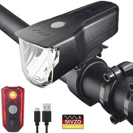 BV LED Fahrradlicht Set, StVZO Zugelassen LED Fahrradbeleuchtung Frontlicht und Rücklicht Set, 3 Licht Modi USB Aufladbare Fahrradlichter, IP44