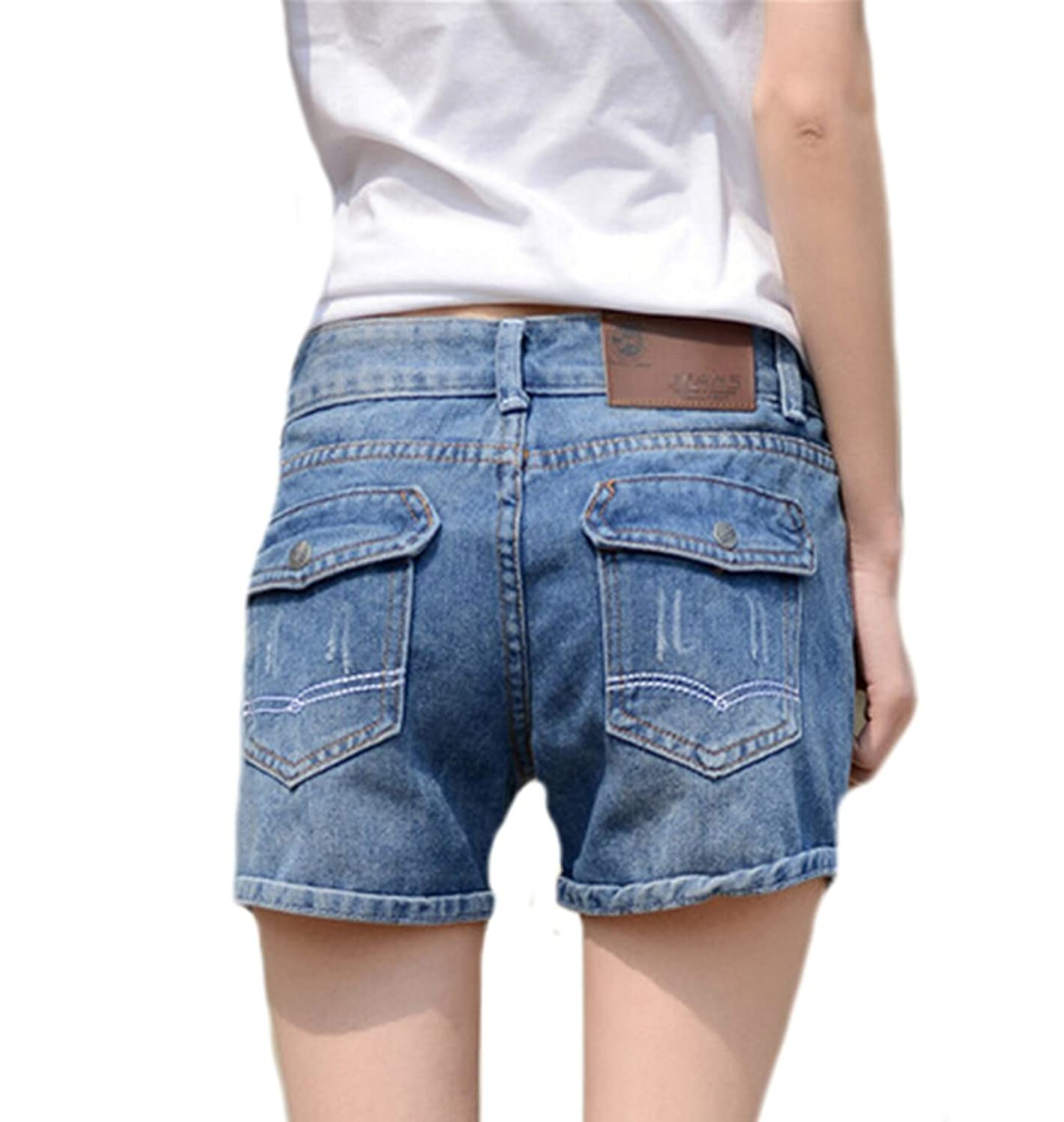 Vska Womens Faded Pockets Casual Loose Hot Jeans Shorts