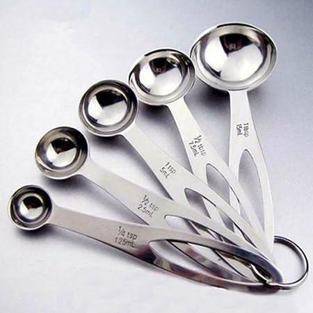 Cucharas medidoras, 5 piezas de cucharas medidoras de acero ...