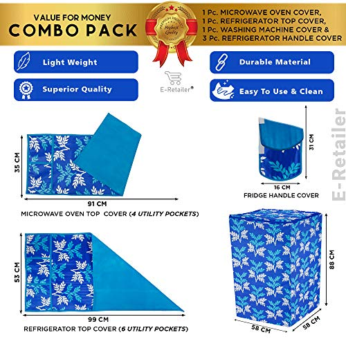 E-Retailer® Combo Set of 1Pc Fridge Top Cover with 6 Pockets, 3Pc Fridge Handle Cover, 1Pc Microwave-Oven Top Cover With 4 Pockets And 1Pc Top Load Washing Machine Cover (BlueLeaf, 6 Pc Set) 610AwutX9TL India 2021