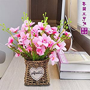 SituMi Artificial Fake Flowers Rattan flower baskets silk flower home decor,pink begonia 61