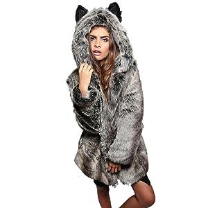 Soly Tech Women Winter Fur Coat Long Parka Warm Faux Fur Hooded Jacket