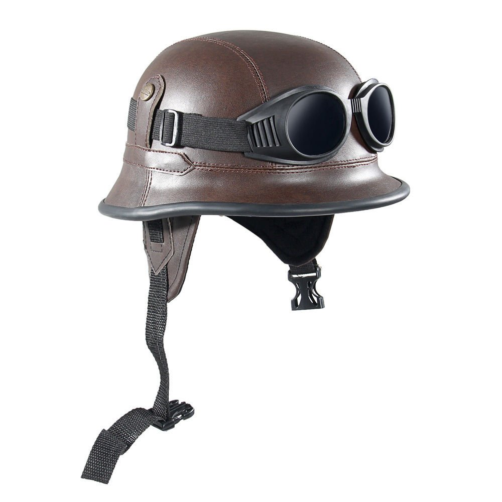 Shsyue® Leder Motorrad Halbhelme mit Schutzbrille Braun Retro Army-Style Grö ß e 56-60 cm 0190