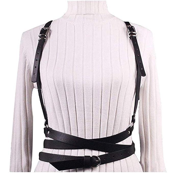 Women Leather Harness Punk Gothic Body Belt Cage Adjustable Shoulder Wrap Strap