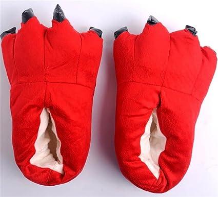 BozeSY Zapatos de traje Animal de mujer zapatillas felpa zapatillas Unisex suave pata garra casa zapatillas