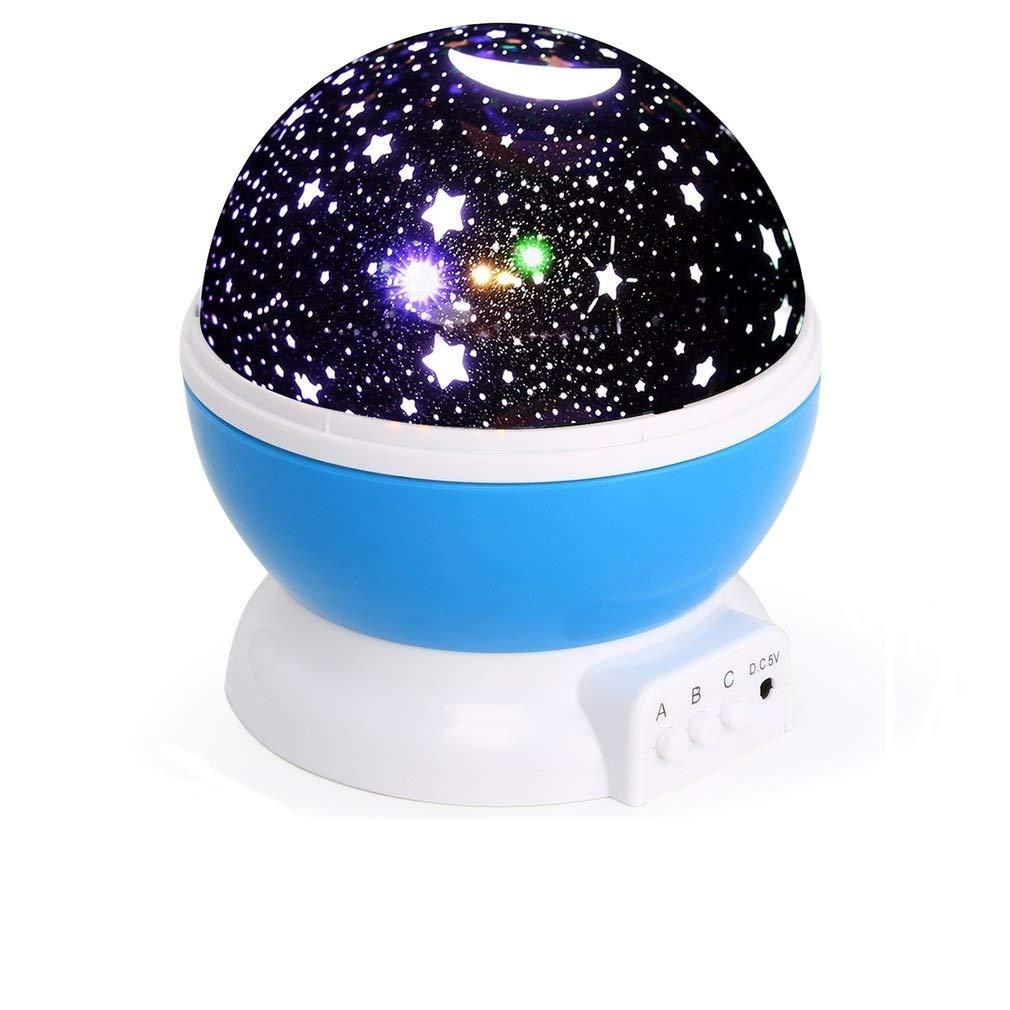 Baby Star Lights Projector, Night Light 3 Mode 360 Degree Rotating Lamp Color Changing for Kids Bedroom, Wedding, Birthday, Parties (Blue) Dpower