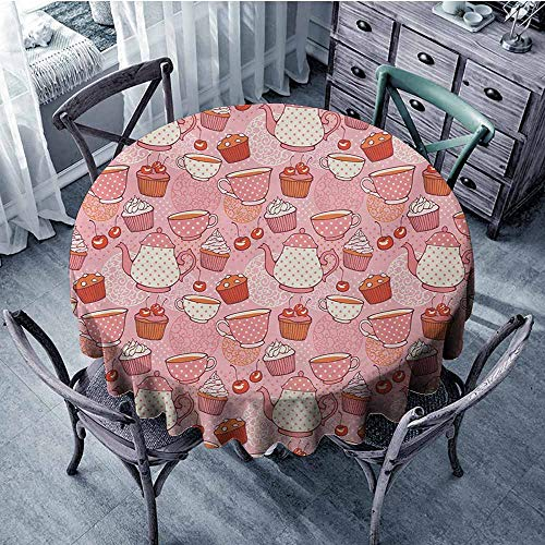(Sumilace Cartoon Durable Tablecloth Teapots Cups with Polka Dots Patterns Cherries Cakes Tea Coffee Pattern Camping 47