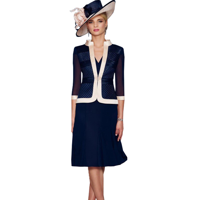 dressvip Dark Blue V-Neck Cap Sleeves Chiffon Two Suits Dresses With Jacket Coat