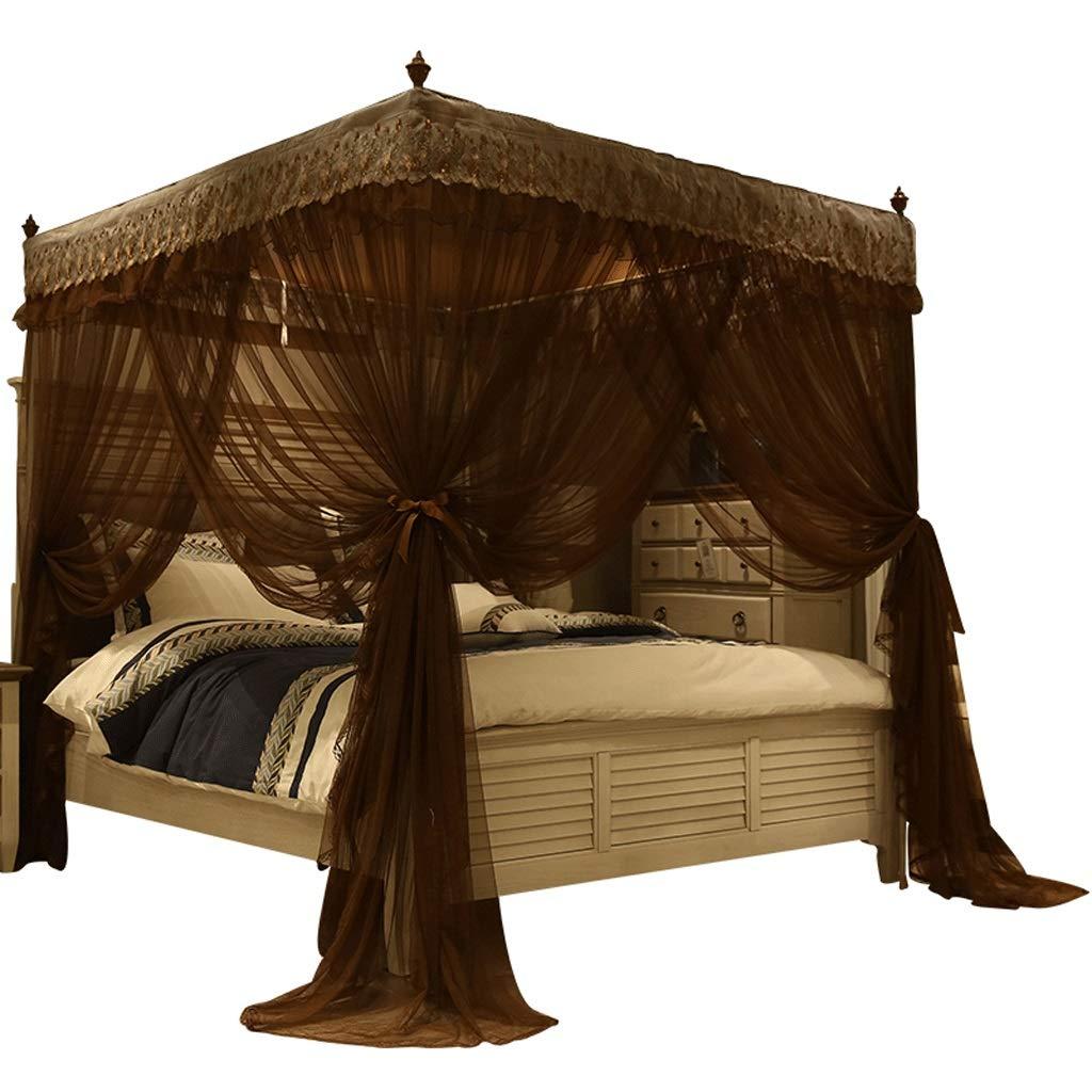 蚊帳1.5 / 1.8 mベッド3ドアダブルホームランディング暗号化パッド入り蚊帳 (色 : Coffee color, サイズ さいず : Bed 1.5m) Bed 1.5m Coffee color B07RTLPZZ2