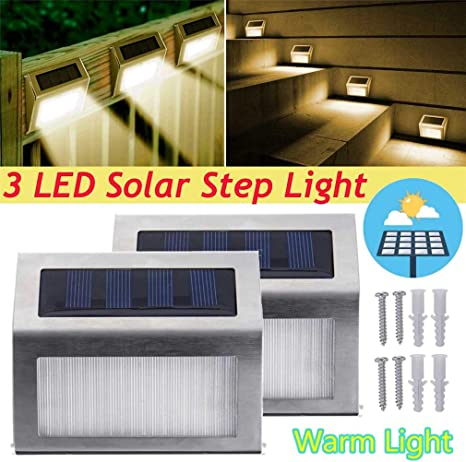 LHY LIGHT Luces de Paso solares Luces de Escalera de inducción LED de Acero Inoxidable para Exteriores Luz de Pared Impermeable montada en la Pared para la Cubierta del Pasillo,Warmwhite,1pack: Amazon.es: Deportes
