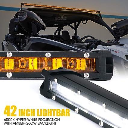 "Xprite Single Row C6 Series 210W Spot 44/"" LED Light Bar with Blue Back Light"