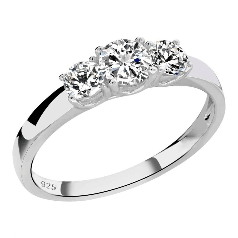 Sterling Silver Round Cubic Zirconia 3-Stone Ring Sz 9