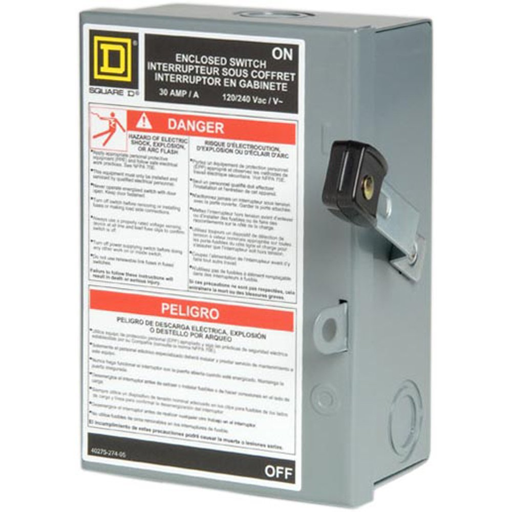 Square D By Schneider Electric L211n 30 Amp 120 240 Volt Two Pole Old Fuse Box Indoor Light Duty Fusible Safety Switch With Neutral Electrical Outlet Switches