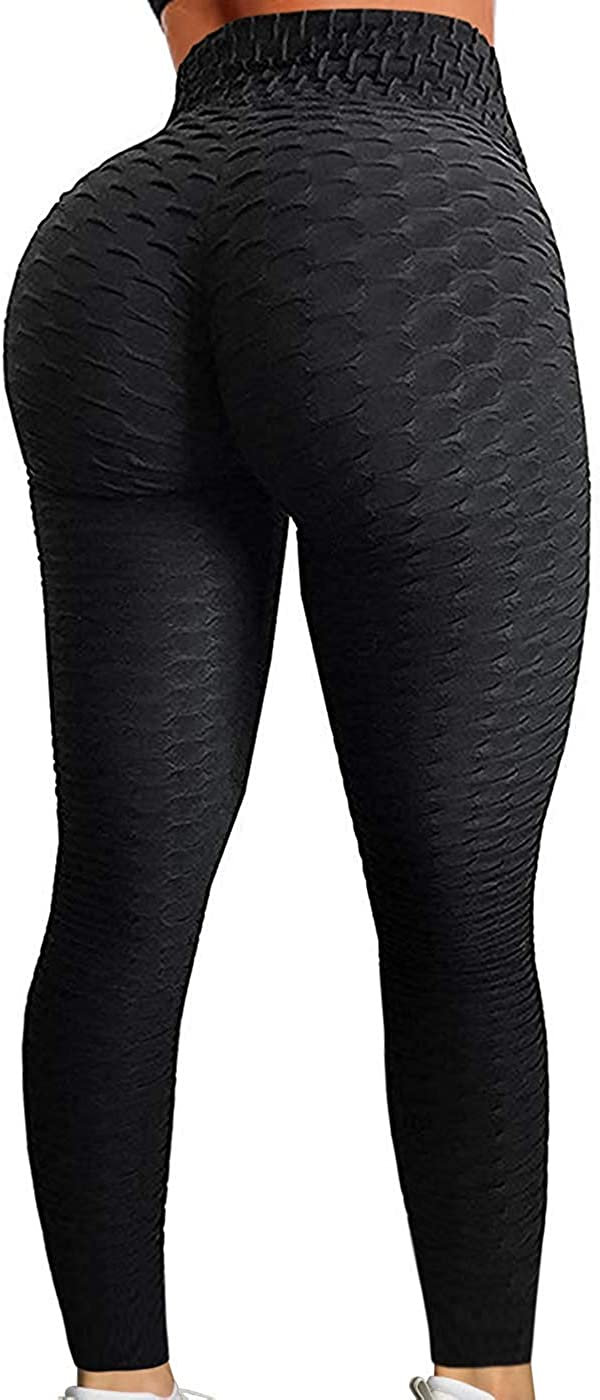 HISMIS Womens Ruched Butt Lifting High Waist Yoga Pants Tummy Control Leggings Tight