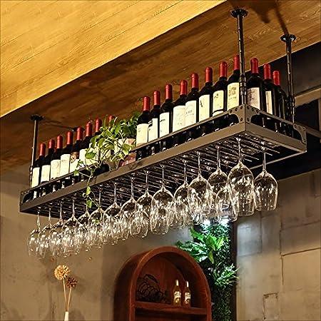 HaohaoCD Barra de Bar mostrador de Bar Estante de Vino Restaurante hogar Copas de Vino Estante invertido Retro Arte de Hierro bastidores de Vino (Color : A, Tamaño : 80 * 35cm)