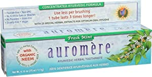 Auromere Ayurvedic Herbal Toothpaste, Fresh Mint 4.16oz (Pack of 2) (Color: White, Tamaño: Pack of 2)