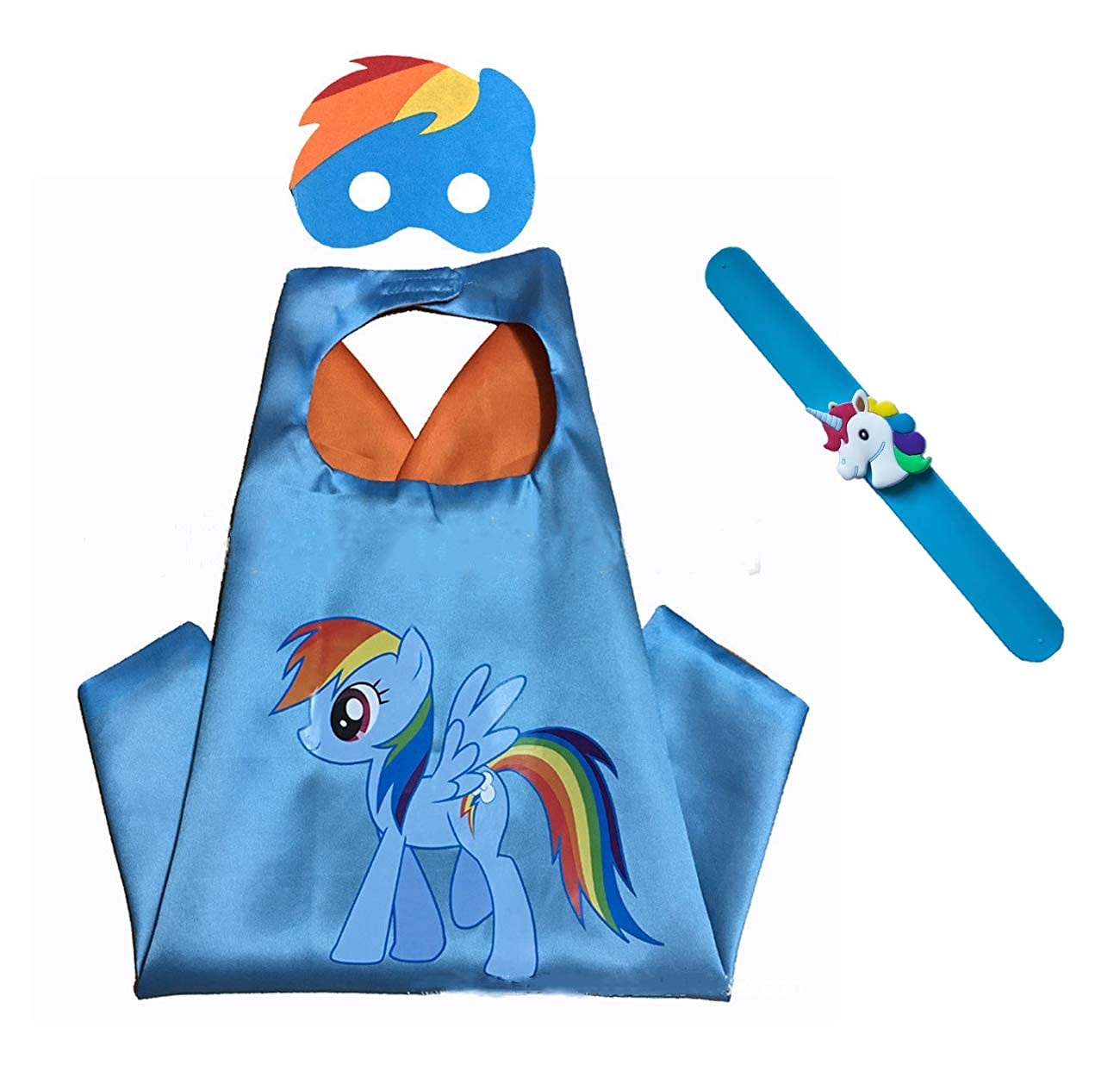 Raclove My Little Pony Costume Set—Cape, Mask and Pops Bracelet for Age 4-10 Kids