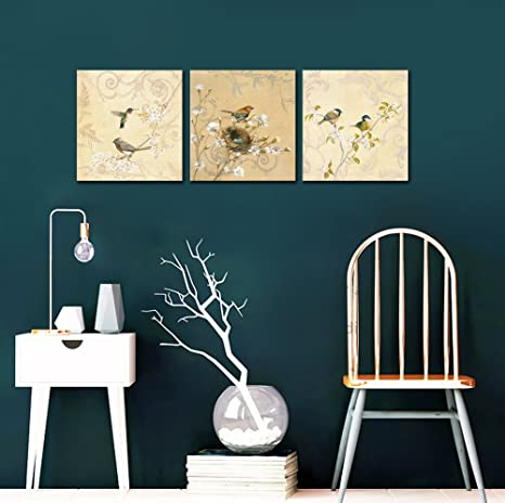 Birds Canvas Prints Wall Art Pictures Abstract Flowers Paintings Artworks for Living Room Bedroom Office Decoration, 12x12 inch, Framed: Amazon.co.uk: ...