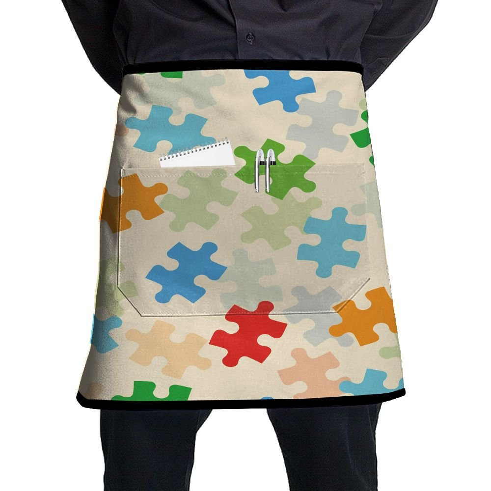 Colorful Puzzle Game Adjustable Apron With Pocket For Kitchen BBQ Barbecue Cooking Ladyâ€s Men's Great Gift For Wife Ladies Men Boyfriend