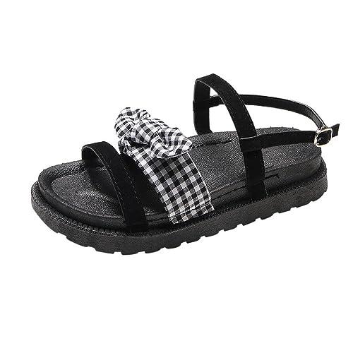 Damen Kariert Bowknot Flach Sandalen Vintage Strand Schnalle Schuhe Frauen Sommer Peep Toe Niedrige Ferseschuhe
