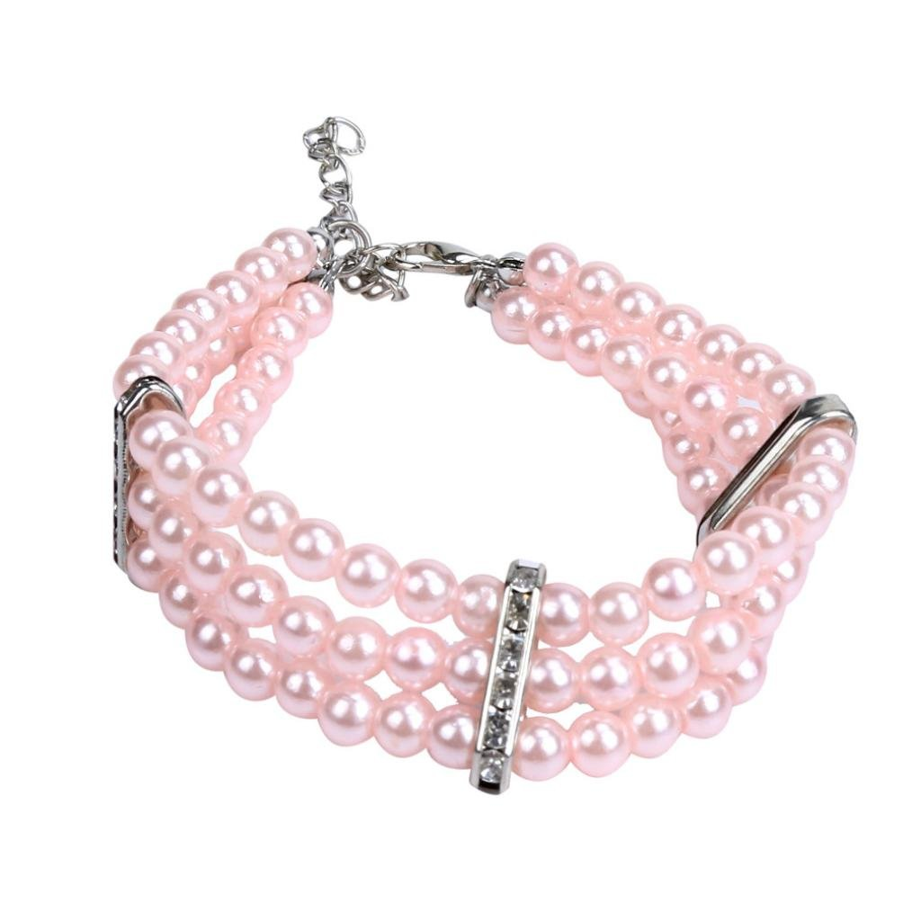 Howstar Pet Collar, Puppy Cat Collar Rhinestone Crystal Dog Necklace Jewelry Cute Pet Collar (M, Pink)