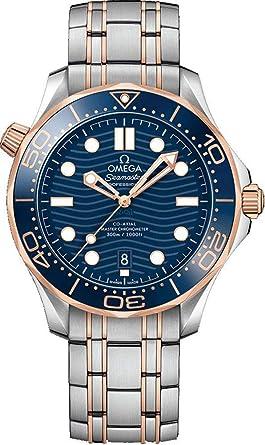 Omega Seamaster 210.20.42.20.03.002 Reloj de pulsera para hombre, esfera azul, oro rosa de 18 quilates y acero