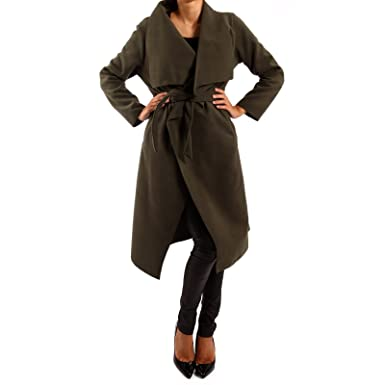 Damen Mantel Mit Bindegürtel Business Stil Langmantel Amazonde