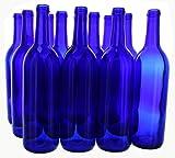 Cobalt Blue Wine Bottles -12 a Box, 750 mL Bordeaux