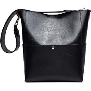 4898f615a525 Amazon.com: Women's Bucket Bag PU Leather Wide Strap Shoulder Bag ...