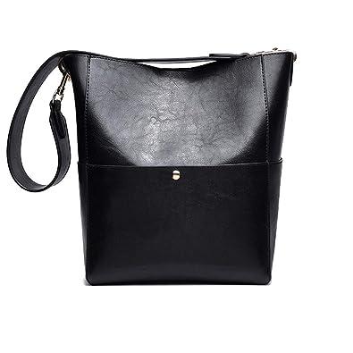 70b97e32a55 JIARUO Designer Bucket bag Women Leather Wide Strap Shoulder bag Handbag  (black2)