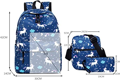 Colegio Mochila para niñas,Bolsos Escolares para niños Mochila para Adolescentes de Regreso a la Escuela(Paquete de 3)(Azul)