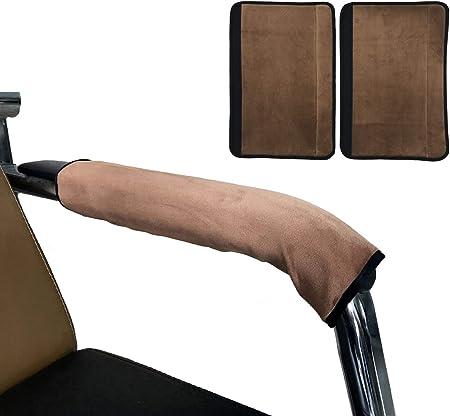Wommty, copribracciolo regolabile per sedie da casa e ufficio, marrone, in morbido velluto, 2 pezzi