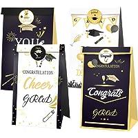 PRETYZOOM 1 Set Graducation Gift Bags Graduation Cap Sticker You Did IT Letter Cookie Paper Bag Congrats Candy Bag Seal Labels Graduation Party Supplies