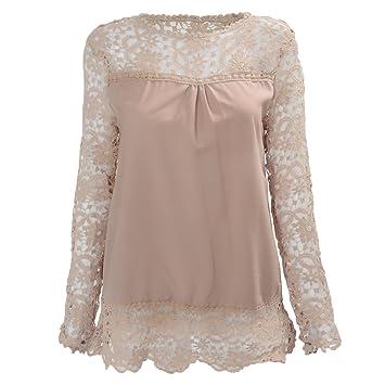 SODIAL(R) Camisas de manga larga de ganchillo hueco flor chiffon encaje caqui de