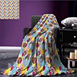 Pastel Patterned blanket Geometric Elements Memphis in the Style of 80s Funky Pop Triangles Circles and Dots beach blanket Multicolor size:60''x80''