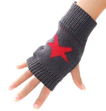HugeStore Damen Winter Vintage Stern Muster Gestrickte Fingerlose ...