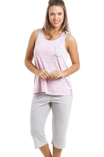 Conjunto de pijama con pantalón pirata - Estampado a rayas - Gris y rosa: Amazon.es: Ropa y accesorios