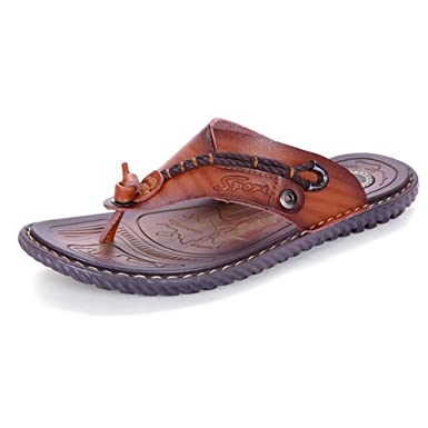 2791b0448cf4 Amazon.com  MUMUWU Men s Thong Flip Flops Beach Slippers Wide Band PU  Leather Non-slip Soft Sole Sandals sandals guess  Clothing