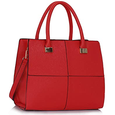 Womens Check Print Designer Faux Leather Celebrity Style Tote ...