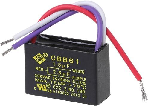 Condensador Shuxin CBB61 1,5 uF + 2,5 uF de 3 cables. 250 V CA y ...