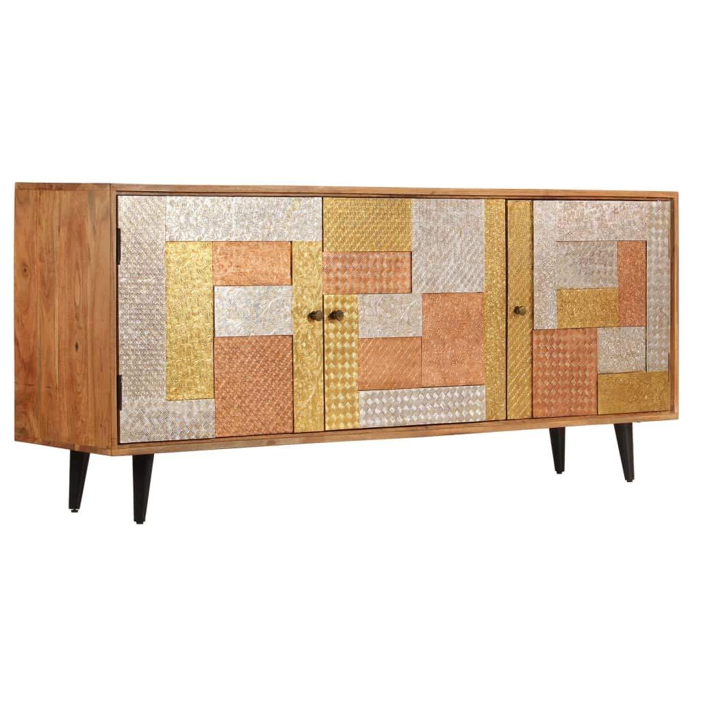 Tidyard Sideboard Mit 3 Türen, Kommode, Highboard, Schrank in Industrial Vintage Design, Anrichte 180 x 40 x 78 cm,Sheesham-Holz Massiv Braun