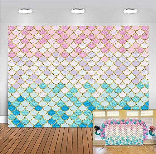 Fanghui 7x5ft Little Mermaid Scales Backdrop Girl Birthday Party Banner Supplies Gold Glitter Purple Pink Blue Pictures Photography Background Newborn Princess Baby Shower Photo Booth Props