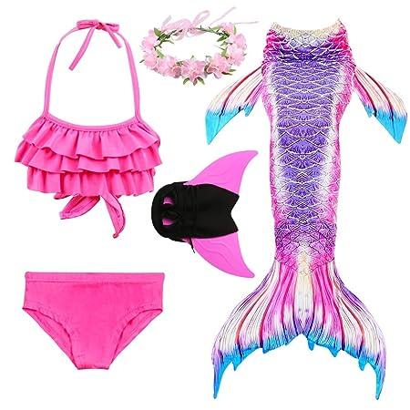 YLYX Traje De Baño Disfraz Cola Sirena Niña con Bikini para ...